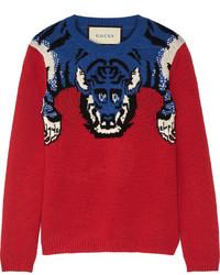 Pull en laine orné rouge Gucci