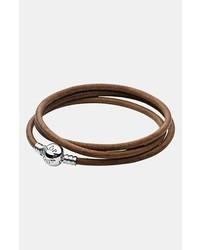 Pulsera de cuero marrón de Pandora
