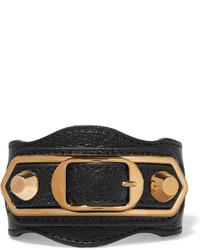 Pulsera de cuero negra de Balenciaga