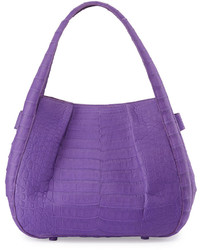Nancy Gonzalez Crocodile Pleated Shoulder Bag Purple
