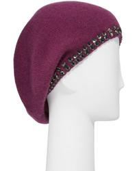 Portolano Cashmere Crystal Edge Beret Hat Damson