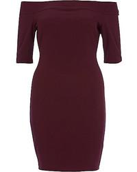 River Island Dark Purple Bardot Bodycon Dress