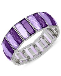 2028 Silver Tone Purple Stone Stretch Bracelet