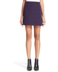 Button detail crepe skirt size 6 us 38 fr blue medium 373375