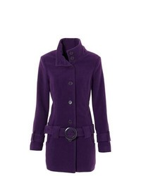BODYFLIRT Short Belted Coat In Purple Size 14