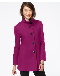 Larry Levine Stand Collar Wool Blend Coat