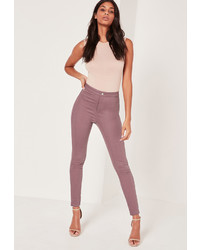 Missguided Highwaisted Skinny Jeans Purple
