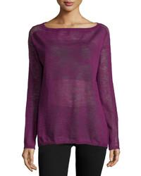 Halston Heritage Sheer Slub Sweater Electric Purple