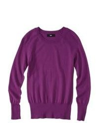 Mossimo Petites Long Sleeve Crew Neck Pullover Sweater Purple Lp