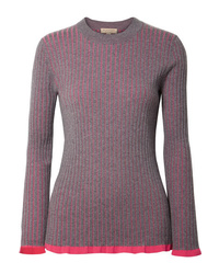 Burberry Striped Ribbed Cashmere And Sweater