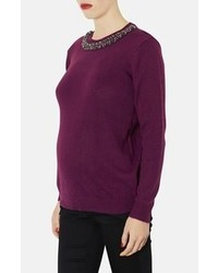 Topshop Embellished Neck Maternity Sweater Purple 6