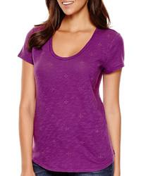 Liz Claiborne Short Sleeve Embellished T Shirt Tall
