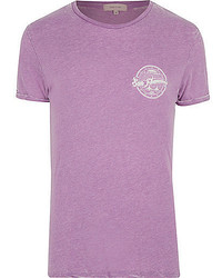 River Island Purple Burnout San Fran Print T Shirt
