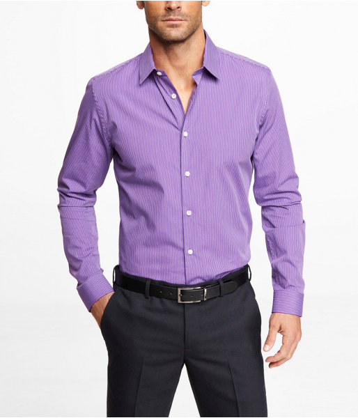 Purple dress shirt express fitted striped dress shirt for Where to buy a dress shirt