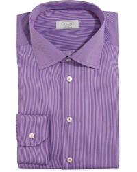 Eton Fine Stripe Dress Shirt Purple