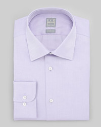 Ike Behar Textured Oxford Dress Shirt Purple