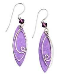 Jody Coyote Patina Brass Earrings Purple Leaf Drop Earrings