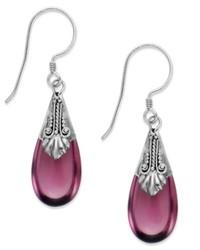 Jody Coyote Sterling Silver Purple Stone Drop Earrings