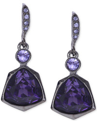 Givenchy Light Hematite Tone Purple Crystal Small Drop Earrings