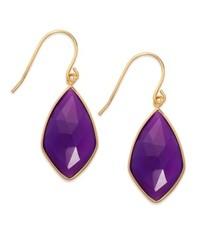 Macy's 14k Gold Over Sterling Silver Earrings Purple Chalcedony Drop Earrings