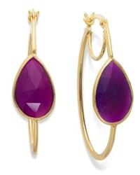 Macy's 14k Gold Over Sterling Silver Earrings Purple Chalcedony Hoop Earrings