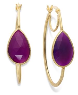 Macy S 14k Gold Over Sterling Silver Earrings Purple Chalcedony Hoop