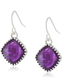 Nine West Vintage America Geo Jewels Worn Silver And Purple Colored Stone Drop Earrings