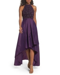 Adrianna Papell Embellished Taffeta Highlow Gown