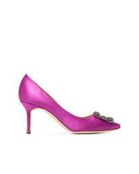 Manolo Blahnik Pink Hangisi 70 Detail Satin Shoes
