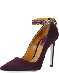 Suede pump with crystal ankle strap purple medium 122957