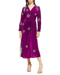 Topshop Velvet Embroidered Wrap Dress