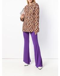 Marni High Waist Flared Jersey Trousers