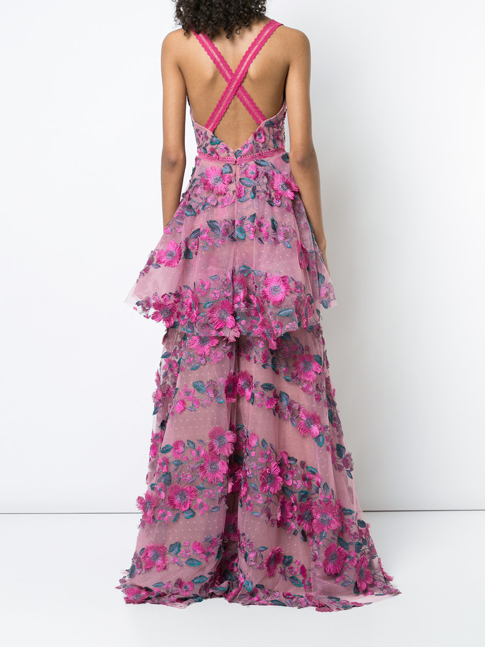 Floral Embroidered Tiered Lace Gown