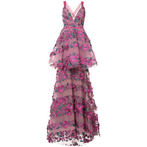 907 Marchesa Notte Floral Embroidered Tiered Lace Gown