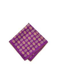 Neiman Marcus Diamond Print Silk Pocket Square Purple
