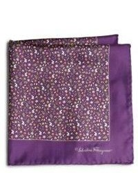 Salvatore Ferragamo Ramage Floral Silk Pocket Square