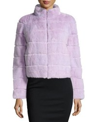 Mink fur zip jacket lavender medium 1201424