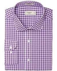 Haggar Cotton Poplin Framed Gingham Fancy Fitted Spread Collar Dress Shirt