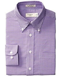 Haggar Gingham Fancy Pinpoint Oxford Long Sleeve Regular Fit Shirt