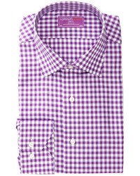 Lorenzo Uomo Trim Fit Gingham Long Sleeve Dress Shirt