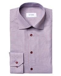 Eton Slim Fit Crease Resistant Red Check Dress Shirt
