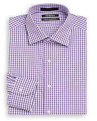 Saks Fifth Avenue Slim Fit Gingham Cotton Dress Shirt