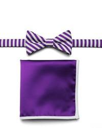 Van Heusen Glow In The Dark Striped Pre Tied Bow Tie Pocket Square Set