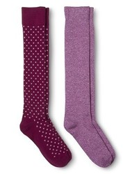 Knee high socks purple dotsmarbled 2 pack medium 124863
