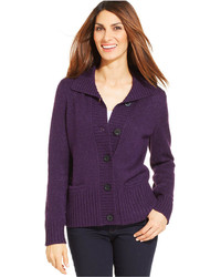 Karen Scott Marled Knit Long Sleeve Cardigan