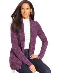 Marled knit ribbed open front cardigan medium 115377