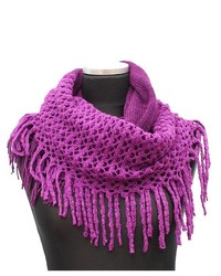 Purple infinity scarf w open knit fringe medium 174117