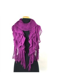 TheDapperTie Dark Purple 100% Acrylic Knitted Ruffle Trim Winter Scarf Scarf 025