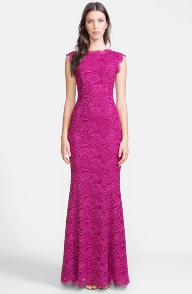 Dolce Gabbana Lace Trumpet Gown Purple Evening Dress By