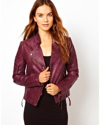 Purple Leather Biker Jacket